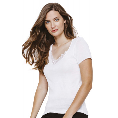 T Shirt Femme Manche Courte Dentelle Tribosoft Beige Taille 1