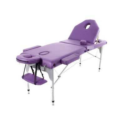 Table de massage pliante en aluminium 194 x 70 cm avec dossier inclinable Mauve