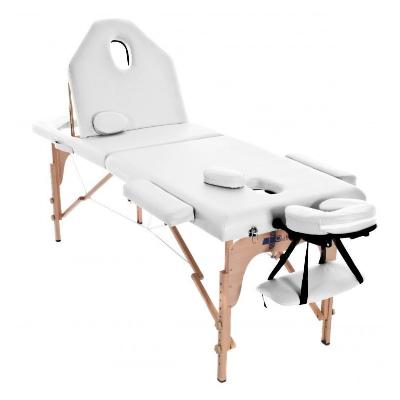 Table de massage pliante en bois 186 x 66 cm avec dossier inclinable Blanc