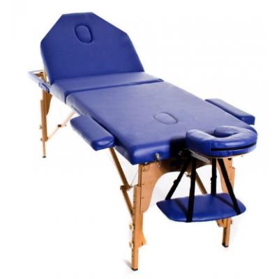 Table de massage pliante en bois 194 x 70 cm avec dossier inclinable Bleu