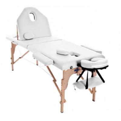 Table de massage pliante en bois 194 x 70 cm avec dossier inclinable Blanc