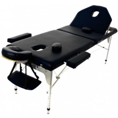 Table de massage pliante en aluminium 194 x 70 cm avec dossier inclinable Noir
