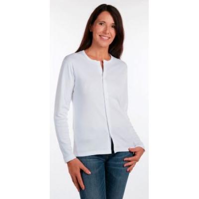 Tee Shirt Mixte Manche Longue Ouvert Devant Aimant Blanc Taille 1