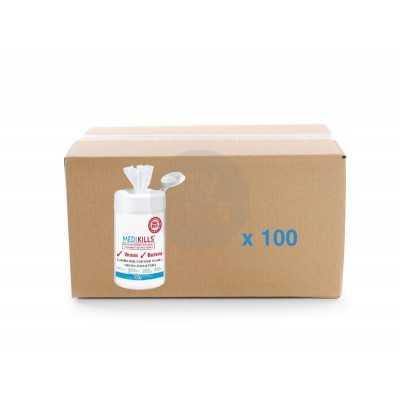 Carton de 100 tubes de 150 lingettes virucides