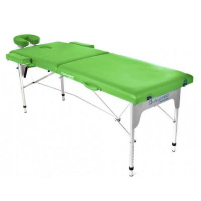 Table de massage pliante en aluminium 180 x 60 cm sans dossier Vert